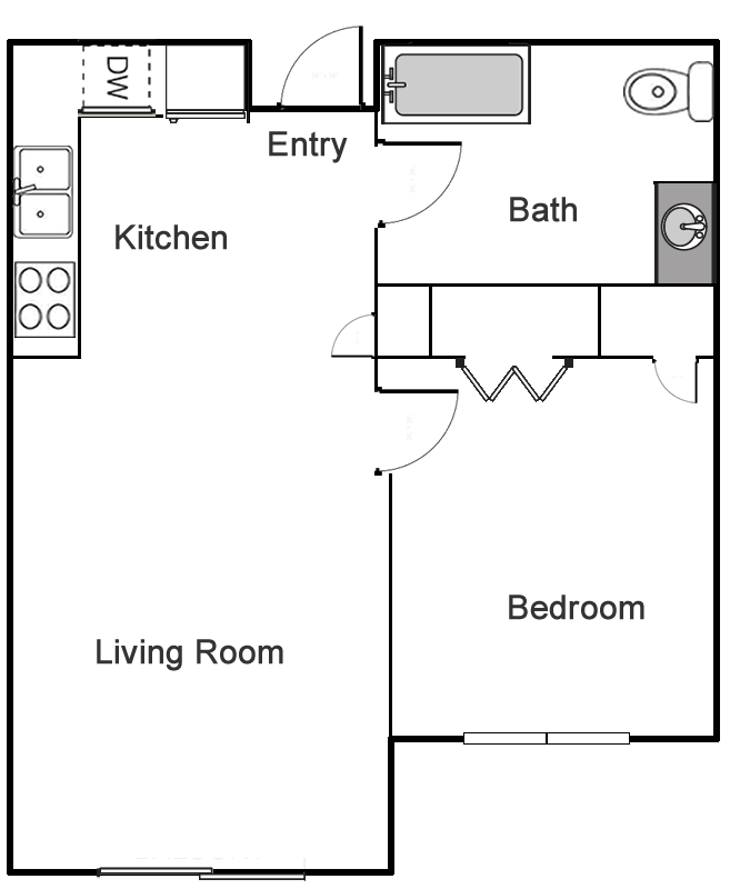 One Bedroom / One Bath - 540 Sq. Ft.*